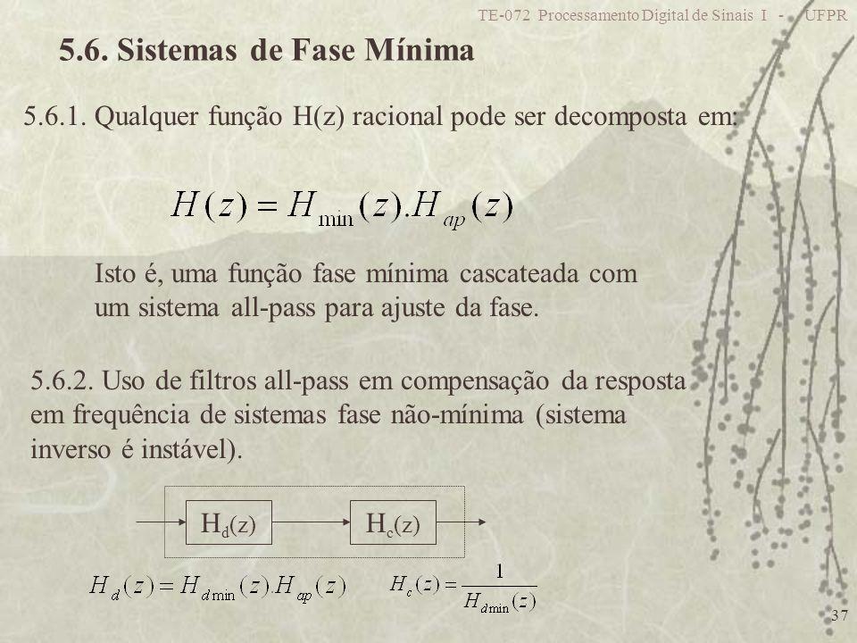 TE-072 Processamento Digital de Sinais I - UFPR 37 5.6. Sistemas de Fase Mínima 5.6.1. Qualquer função H(z) racional pode ser decomposta em: Isto é, u