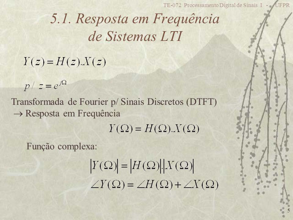 TE-072 Processamento Digital de Sinais I - UFPR 5 5.1. Resposta em Frequência de Sistemas LTI Transformada de Fourier p/ Sinais Discretos (DTFT) Respo