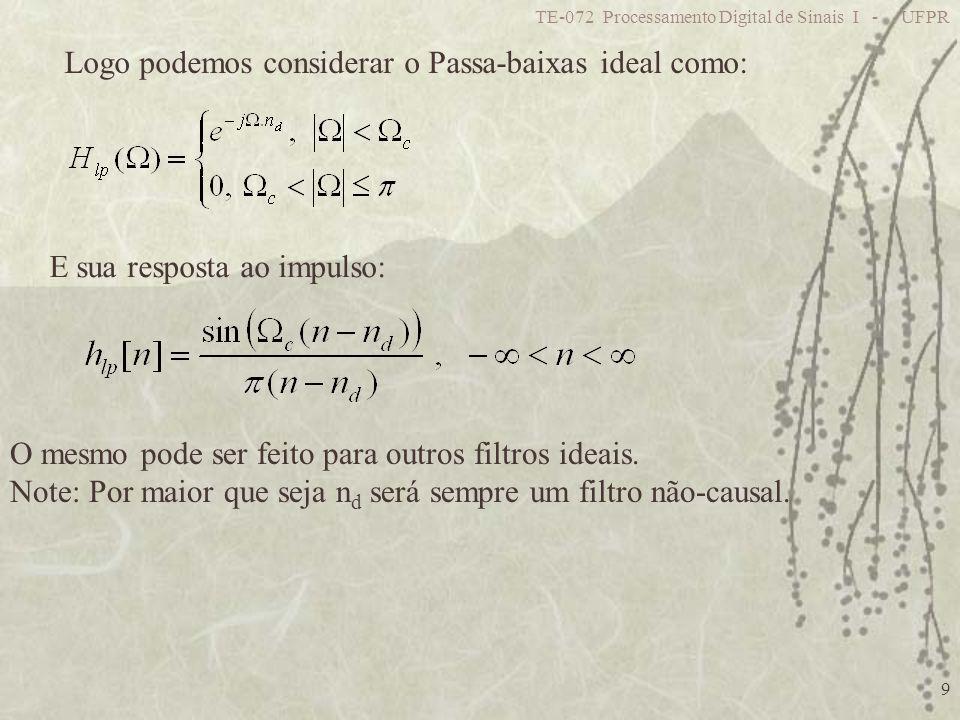 TE-072 Processamento Digital de Sinais I - UFPR 40 Se é um inteiro n d, a resposta ao impulso é simétrica em n=n d Porém, se 2 for um inteiro teremos simetria em relação à n= Caso contrário o filtro terá fase Linear porém h[n] não será simétrica