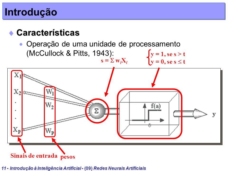11 - Introdução à Inteligência Artificial - (09) Redes Neurais Artificiais Introdução Características Características Operação de uma unidade de proce