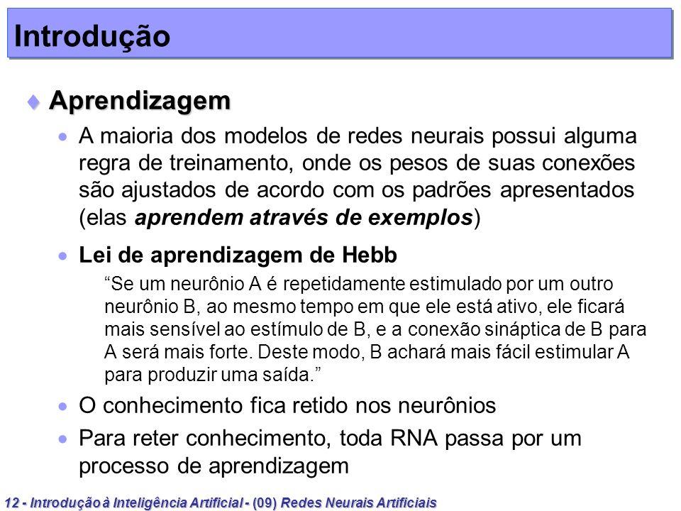 12 - Introdução à Inteligência Artificial - (09) Redes Neurais Artificiais Introdução Aprendizagem Aprendizagem A maioria dos modelos de redes neurais