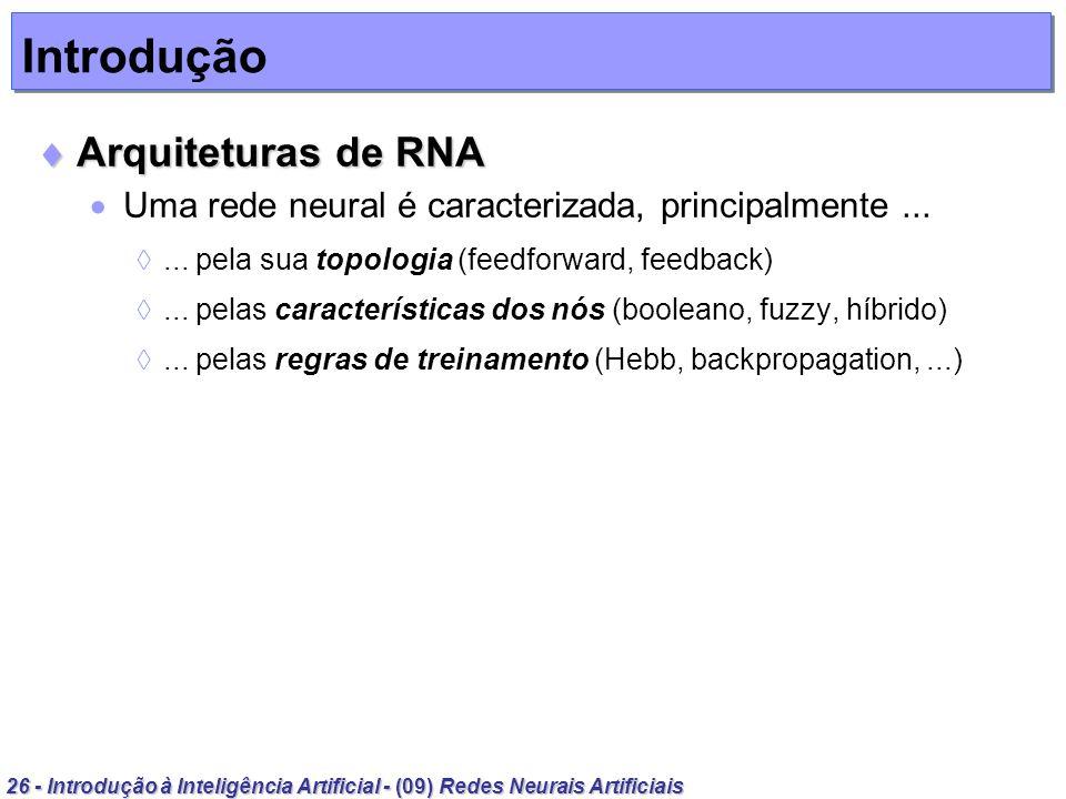 26 - Introdução à Inteligência Artificial - (09) Redes Neurais Artificiais Introdução Arquiteturas de RNA Arquiteturas de RNA Uma rede neural é caract