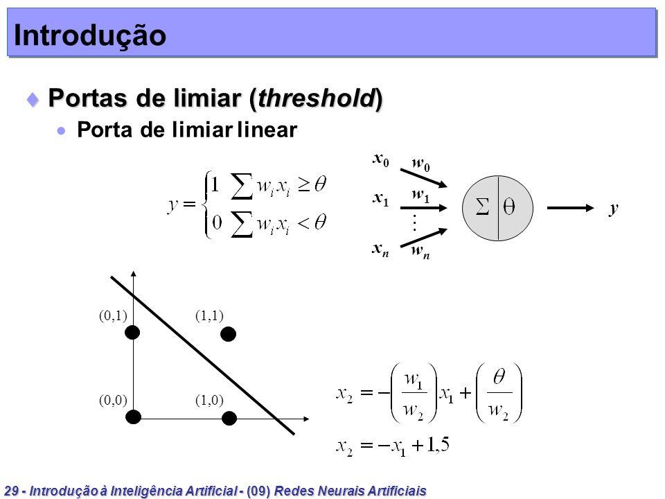 29 - Introdução à Inteligência Artificial - (09) Redes Neurais Artificiais Introdução Portas de limiar (threshold) Portas de limiar (threshold) Porta