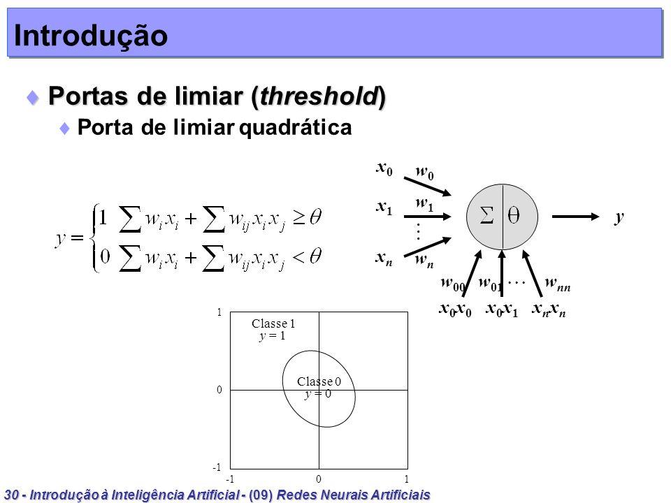 30 - Introdução à Inteligência Artificial - (09) Redes Neurais Artificiais Introdução Portas de limiar (threshold) Portas de limiar (threshold) Porta