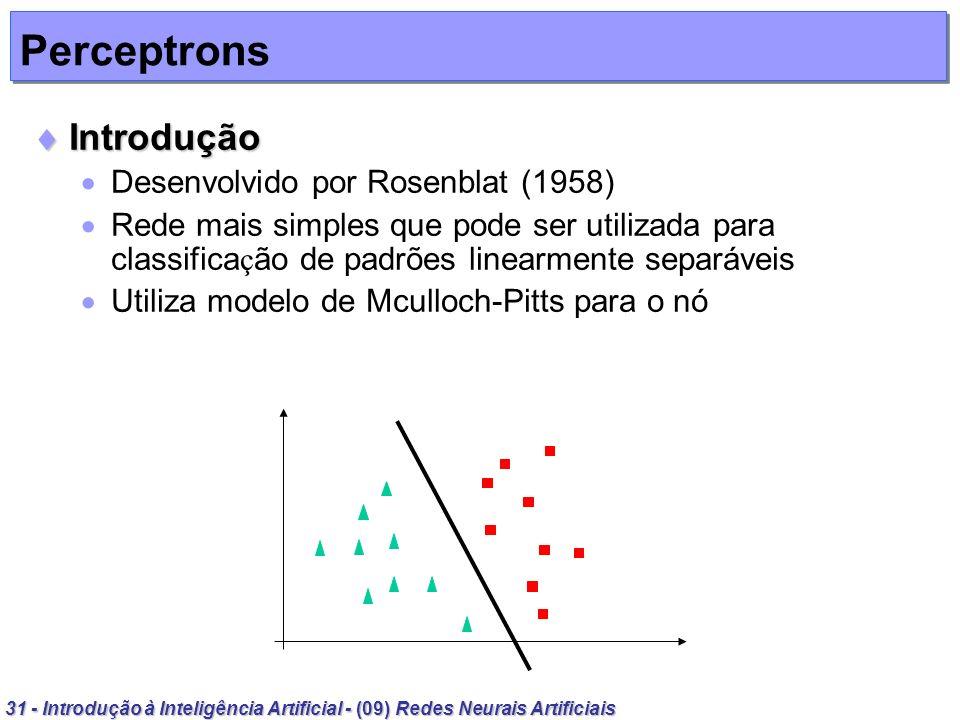 31 - Introdução à Inteligência Artificial - (09) Redes Neurais Artificiais Perceptrons Introdução Introdução Desenvolvido por Rosenblat (1958) Rede ma