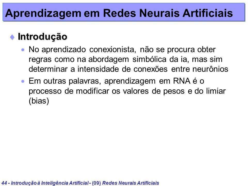 44 - Introdução à Inteligência Artificial - (09) Redes Neurais Artificiais Aprendizagem em Redes Neurais Artificiais Introdução Introdução No aprendiz