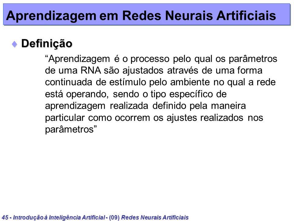 45 - Introdução à Inteligência Artificial - (09) Redes Neurais Artificiais Aprendizagem em Redes Neurais Artificiais Definição Definição Aprendizagem