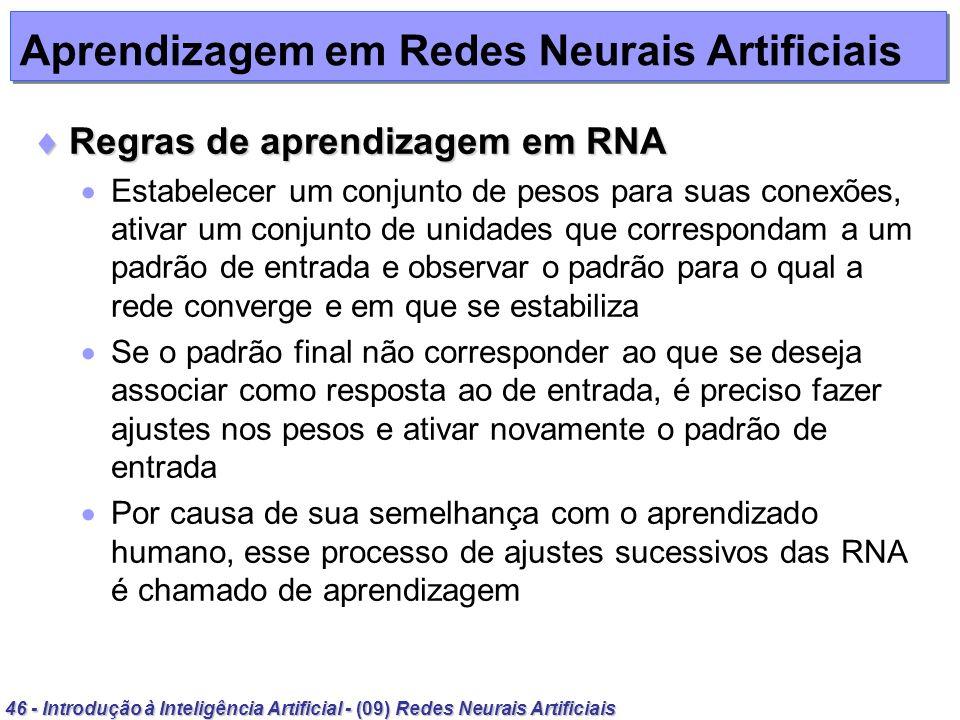 46 - Introdução à Inteligência Artificial - (09) Redes Neurais Artificiais Aprendizagem em Redes Neurais Artificiais Regras de aprendizagem em RNA Reg