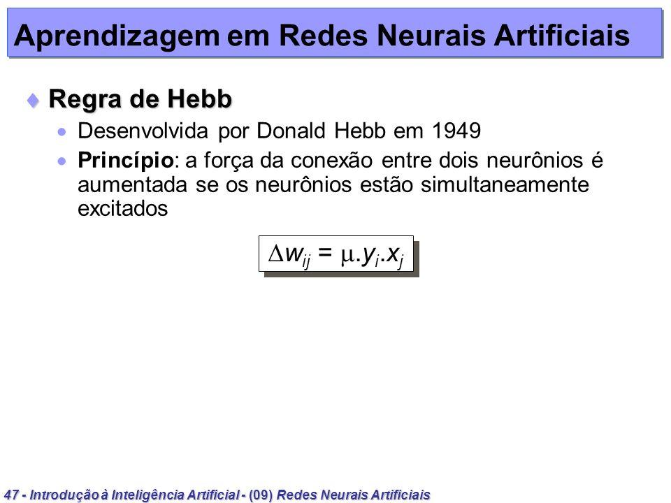 47 - Introdução à Inteligência Artificial - (09) Redes Neurais Artificiais Aprendizagem em Redes Neurais Artificiais Regra de Hebb Regra de Hebb Desen