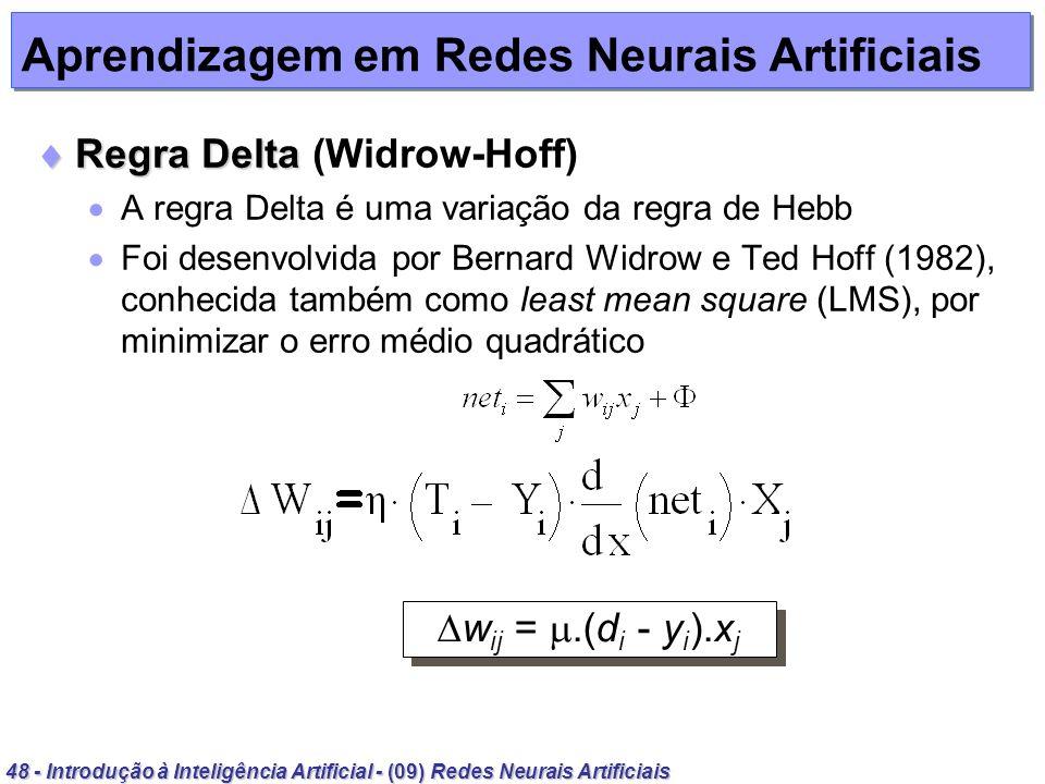 48 - Introdução à Inteligência Artificial - (09) Redes Neurais Artificiais Aprendizagem em Redes Neurais Artificiais Regra Delta Regra Delta (Widrow-H