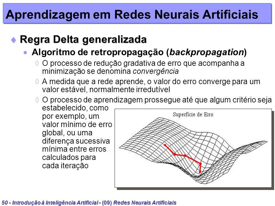 50 - Introdução à Inteligência Artificial - (09) Redes Neurais Artificiais Aprendizagem em Redes Neurais Artificiais Regra Delta generalizada Regra De