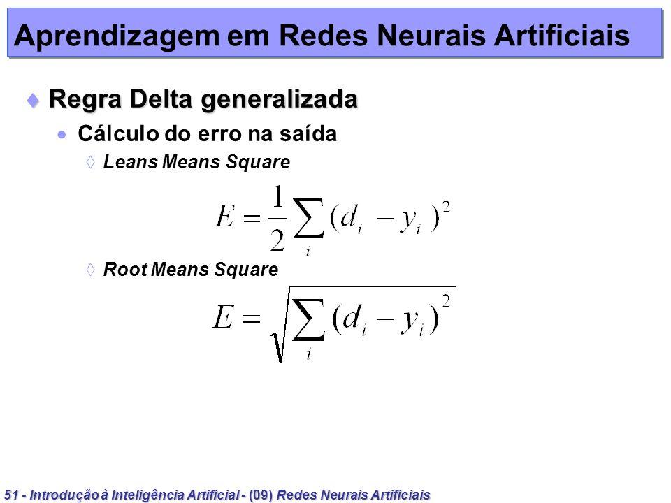 51 - Introdução à Inteligência Artificial - (09) Redes Neurais Artificiais Aprendizagem em Redes Neurais Artificiais Regra Delta generalizada Regra De