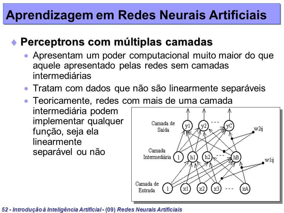 52 - Introdução à Inteligência Artificial - (09) Redes Neurais Artificiais Aprendizagem em Redes Neurais Artificiais Perceptrons com múltiplas camadas