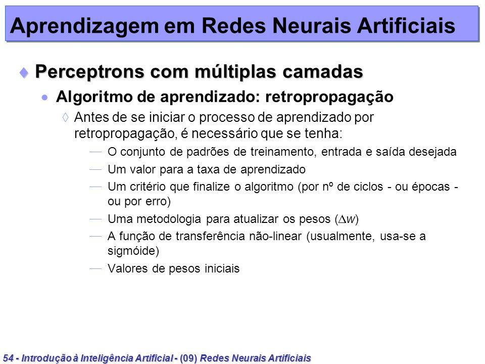 54 - Introdução à Inteligência Artificial - (09) Redes Neurais Artificiais Aprendizagem em Redes Neurais Artificiais Perceptrons com múltiplas camadas