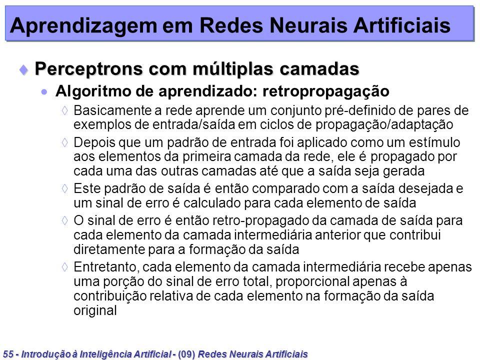 55 - Introdução à Inteligência Artificial - (09) Redes Neurais Artificiais Aprendizagem em Redes Neurais Artificiais Perceptrons com múltiplas camadas