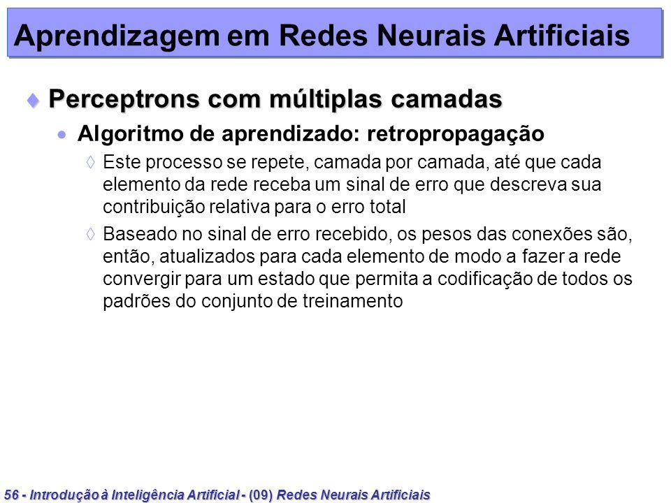 56 - Introdução à Inteligência Artificial - (09) Redes Neurais Artificiais Aprendizagem em Redes Neurais Artificiais Perceptrons com múltiplas camadas