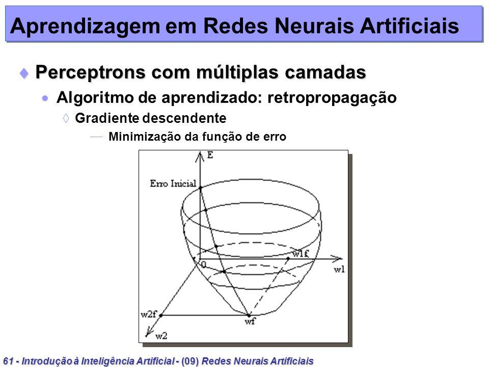 61 - Introdução à Inteligência Artificial - (09) Redes Neurais Artificiais Aprendizagem em Redes Neurais Artificiais Perceptrons com múltiplas camadas