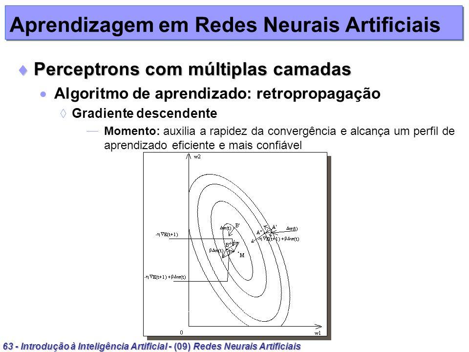 63 - Introdução à Inteligência Artificial - (09) Redes Neurais Artificiais Aprendizagem em Redes Neurais Artificiais Perceptrons com múltiplas camadas