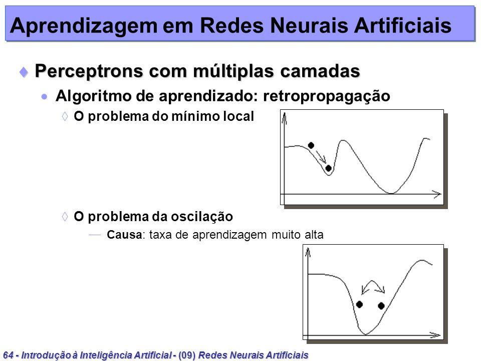 64 - Introdução à Inteligência Artificial - (09) Redes Neurais Artificiais Aprendizagem em Redes Neurais Artificiais Perceptrons com múltiplas camadas