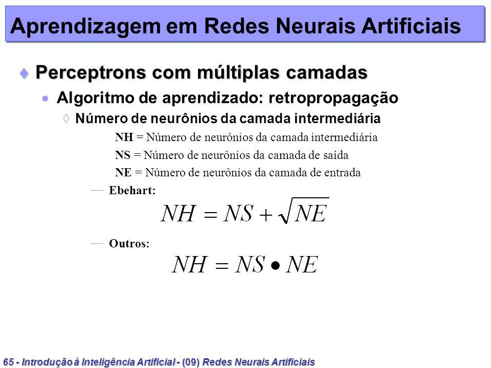 65 - Introdução à Inteligência Artificial - (09) Redes Neurais Artificiais Aprendizagem em Redes Neurais Artificiais Perceptrons com múltiplas camadas