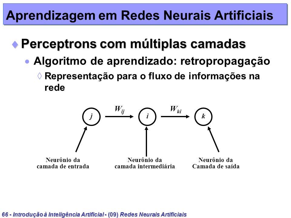 66 - Introdução à Inteligência Artificial - (09) Redes Neurais Artificiais Aprendizagem em Redes Neurais Artificiais Perceptrons com múltiplas camadas