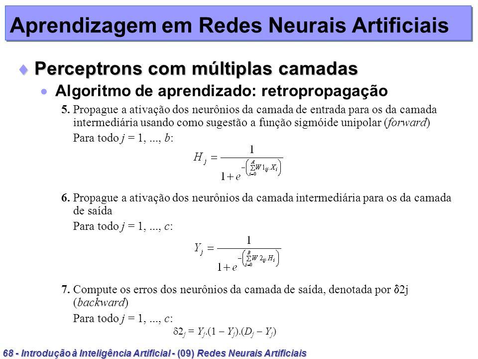 68 - Introdução à Inteligência Artificial - (09) Redes Neurais Artificiais Aprendizagem em Redes Neurais Artificiais Perceptrons com múltiplas camadas