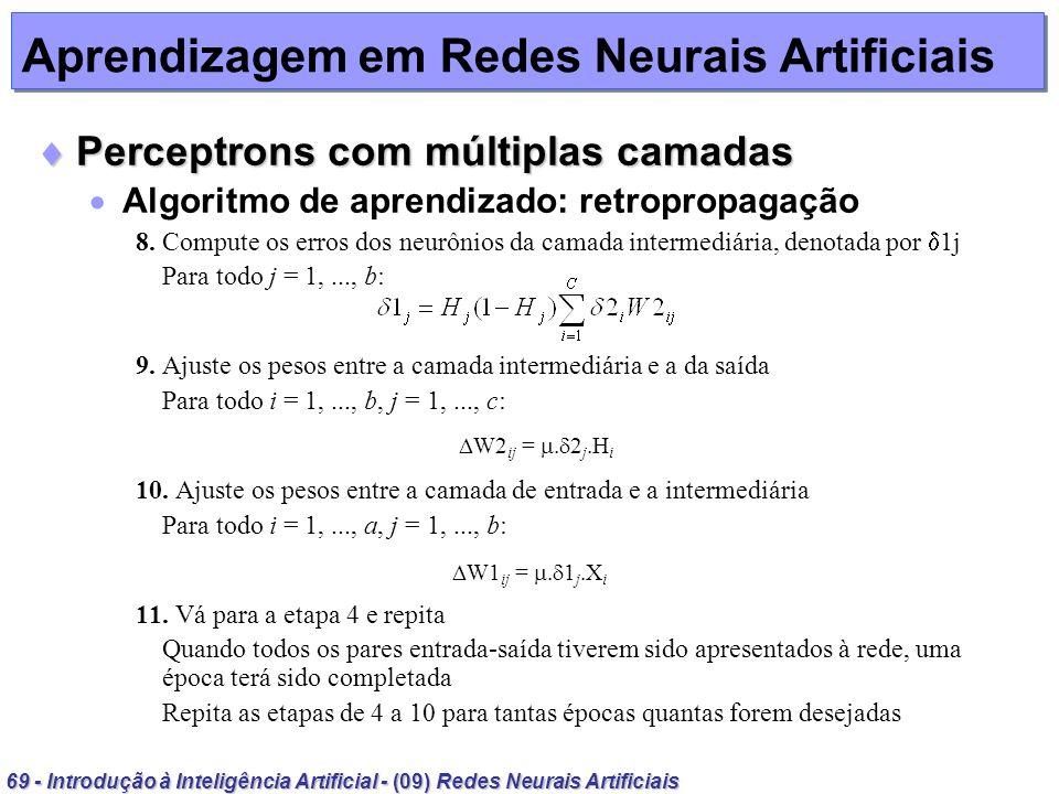 69 - Introdução à Inteligência Artificial - (09) Redes Neurais Artificiais Aprendizagem em Redes Neurais Artificiais Perceptrons com múltiplas camadas