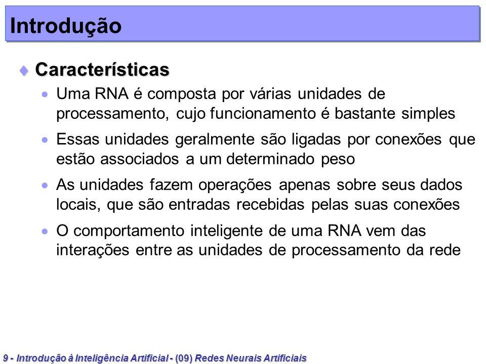 40 - Introdução à Inteligência Artificial - (09) Redes Neurais Artificiais Validação Validação Exemplo Exemplo: Testar a rede Para o padrão -11-1 u = (-1)(0.8) + (1)(-0,4) + (-1)(0.7) = -1.9(classe 1) Para o padrão 1-11 u = (1)(0.8) + (-1)(-0,4) + (1)(0.7) = 1.9(classe 2) Para o padrão 1-11 u = (1)(0.8) + (-1)(-0,4) + (-1)(0.7) = 0,5(classe 2) Perceptrons
