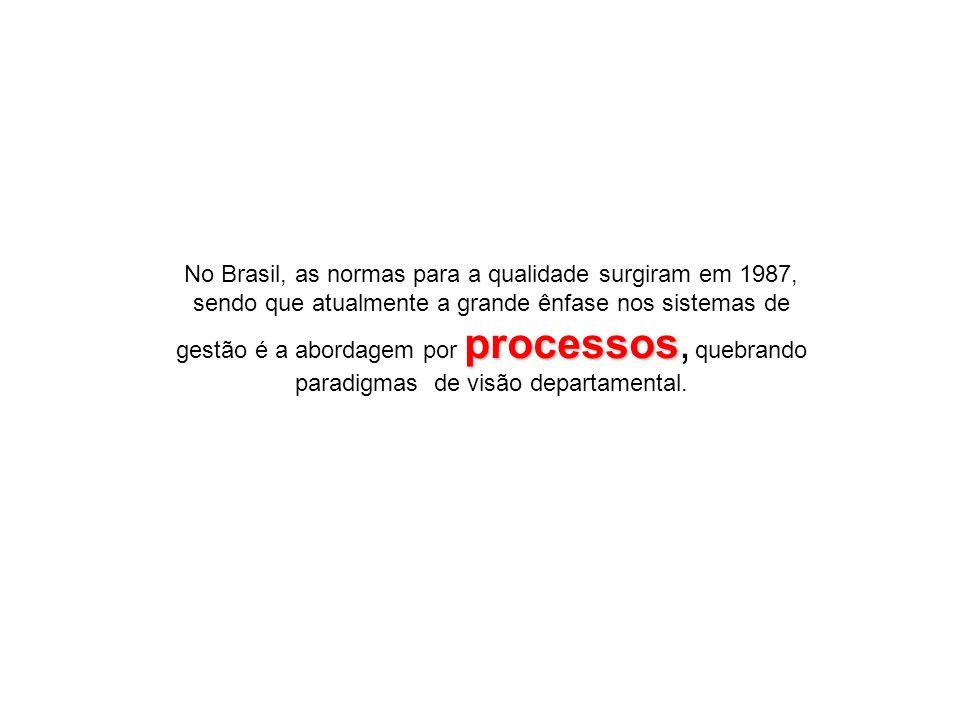 processos No Brasil, as normas para a qualidade surgiram em 1987, sendo que atualmente a grande ênfase nos sistemas de gestão é a abordagem por proces