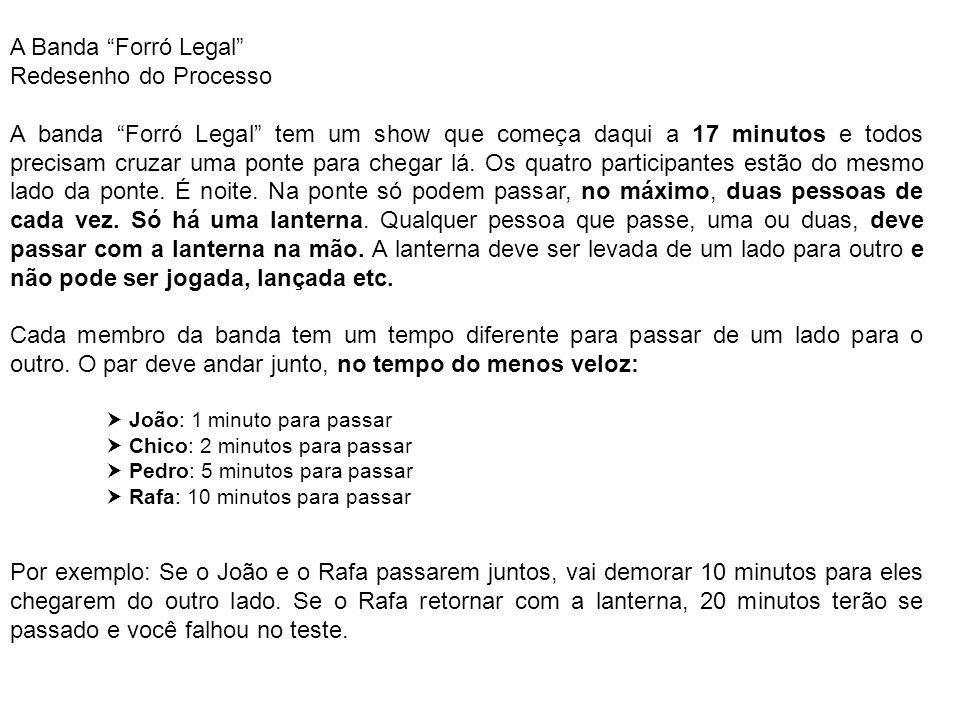 A Banda Forró Legal Redesenho do Processo A banda Forró Legal tem um show que começa daqui a 17 minutos e todos precisam cruzar uma ponte para chegar
