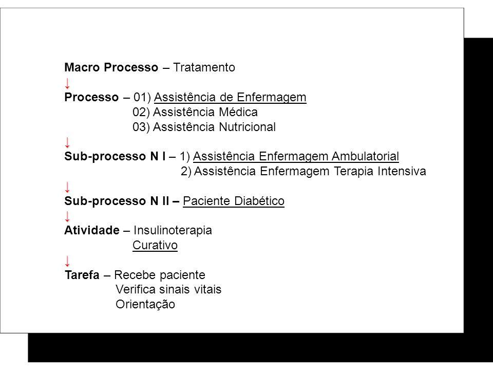 Macro Processo – Tratamento Processo – 01) Assistência de Enfermagem 02) Assistência Médica 03) Assistência Nutricional Sub-processo N I – 1) Assistên