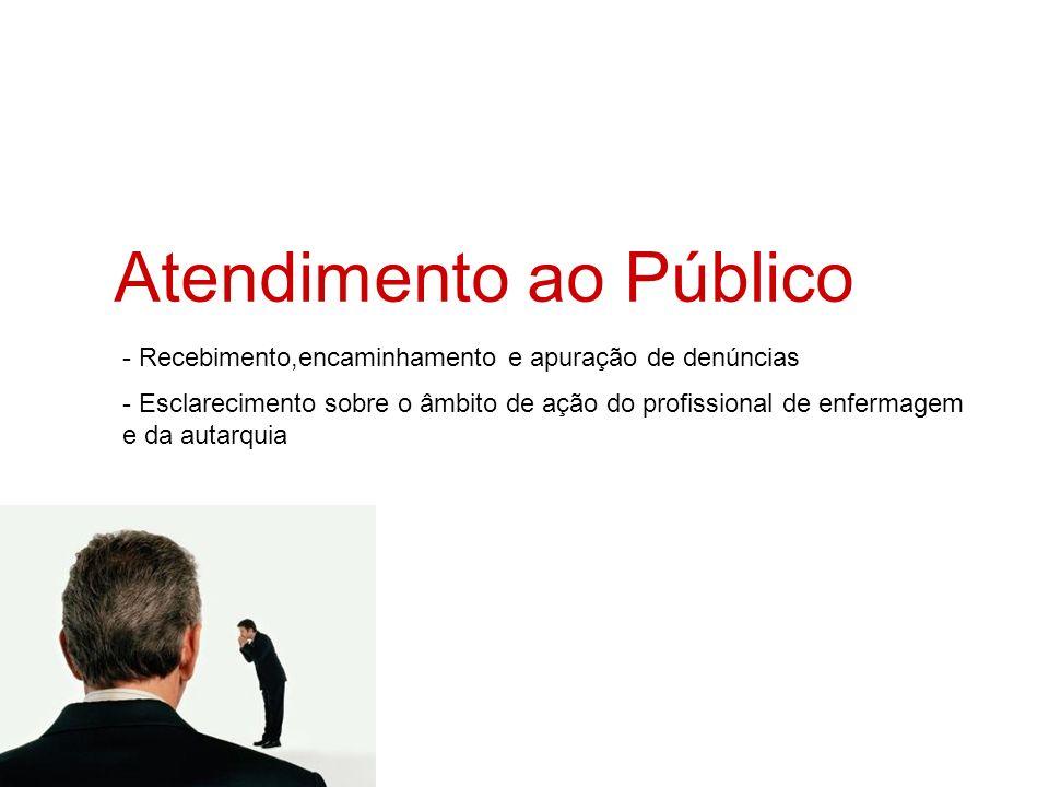 Atendimento ao Público - Recebimento,encaminhamento e apuração de denúncias - Esclarecimento sobre o âmbito de ação do profissional de enfermagem e da