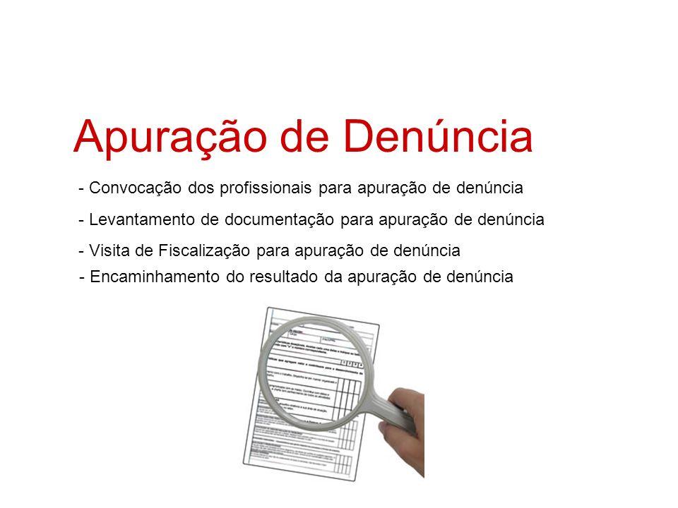 Apuração de Denúncia - Convocação dos profissionais para apuração de denúncia - Levantamento de documentação para apuração de denúncia - Visita de Fis