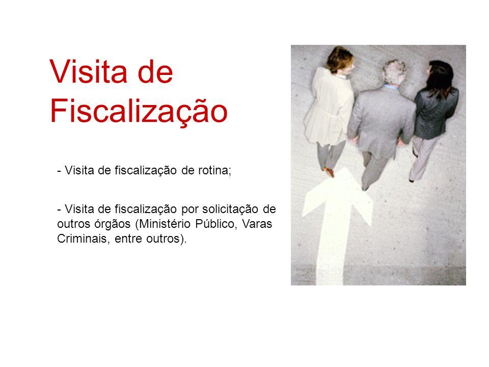 Visita de Fiscalização - Visita de fiscalização de rotina; - Visita de fiscalização por solicitação de outros órgãos (Ministério Público, Varas Crimin