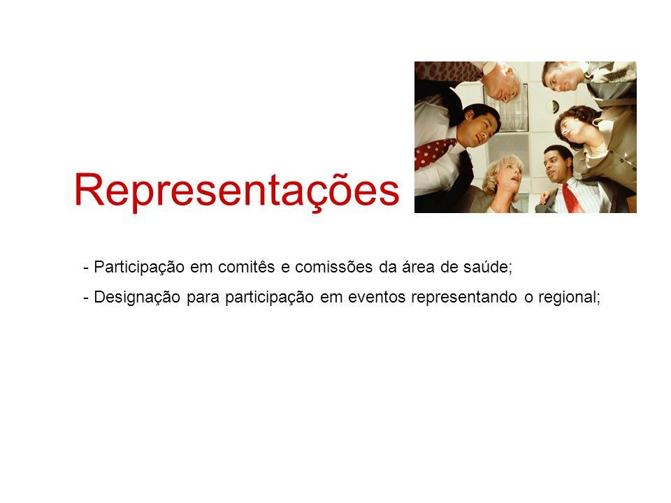 Representações - Participação em comitês e comissões da área de saúde; - Designação para participação em eventos representando o regional;