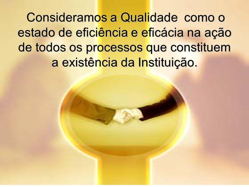 Consideramos a Qualidade como o estado de eficiência e eficácia na ação de todos os processos que constituem a existência da Instituição. Consideramos