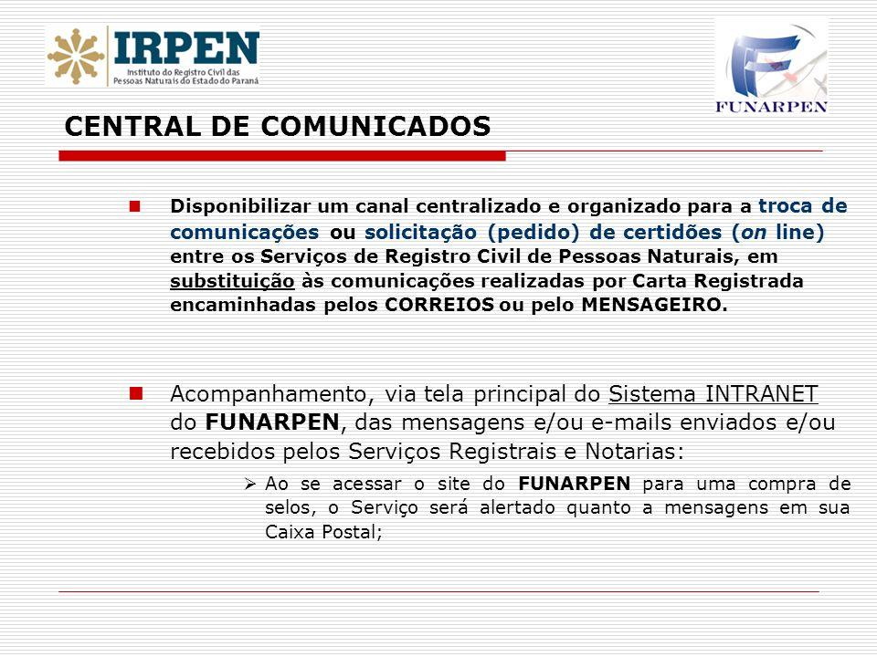 Disponibilizar um canal centralizado e organizado para a troca de comunicações ou solicitação (pedido) de certidões (on line) entre os Serviços de Reg