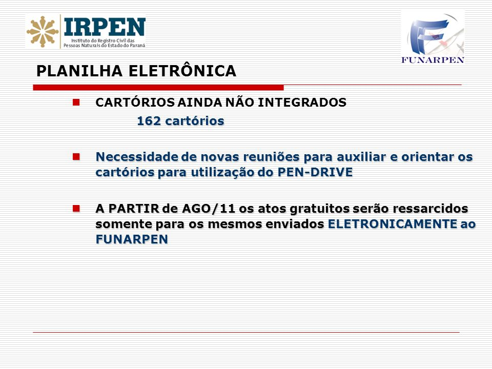 CARTÓRIOS AINDA NÃO INTEGRADOS 162 cartórios Necessidade de novas reuniões para auxiliar e orientar os cartórios para utilização do PEN-DRIVE Necessid