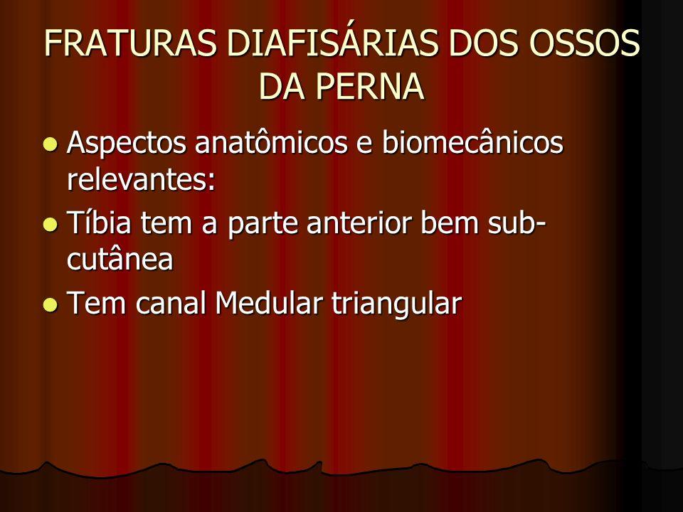 FRATURAS DIAFISÁRIAS DOS OSSOS DA PERNA Tem compartimentos definidos: anterior, lateral e posterior.
