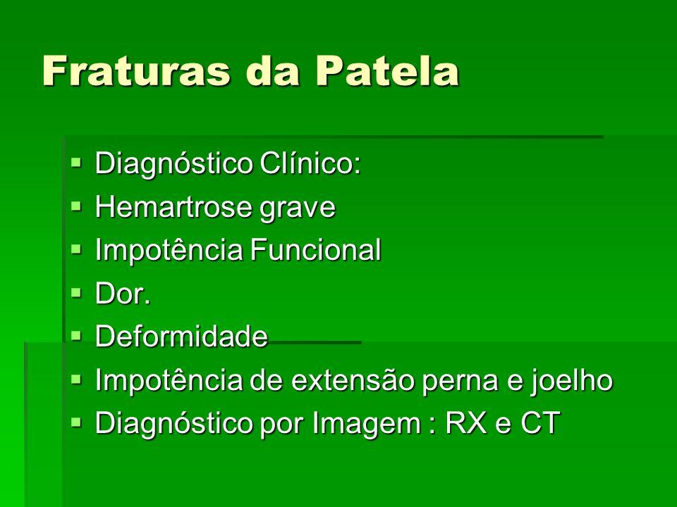 Fraturas da Patela Diagnóstico Clínico: Diagnóstico Clínico: Hemartrose grave Hemartrose grave Impotência Funcional Impotência Funcional Dor. Dor. Def