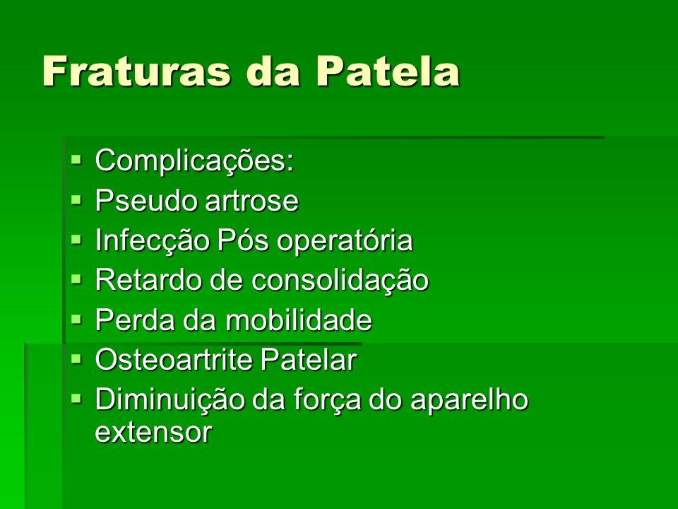 Fraturas da Patela Complicações: Complicações: Pseudo artrose Pseudo artrose Infecção Pós operatória Infecção Pós operatória Retardo de consolidação R