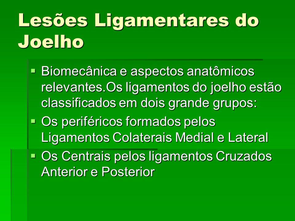 Lesões Ligamentares do Joelho Biomecânica e aspectos anatômicos relevantes.Os ligamentos do joelho estão classificados em dois grande grupos: Biomecân