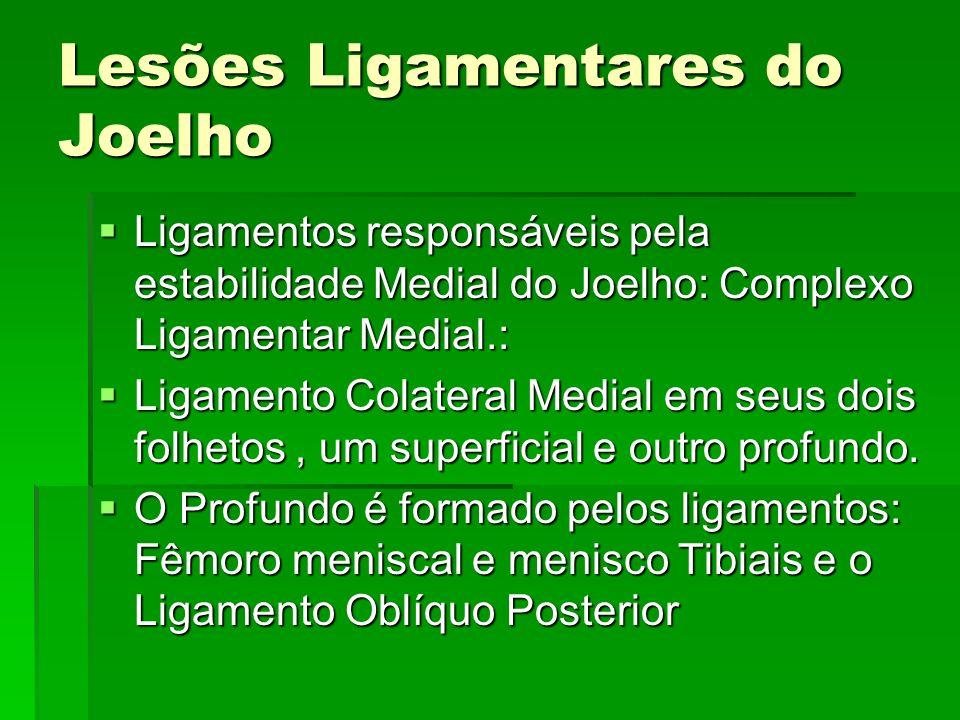Lesões Ligamentares do Joelho Ligamentos responsáveis pela estabilidade Medial do Joelho: Complexo Ligamentar Medial.: Ligamentos responsáveis pela es
