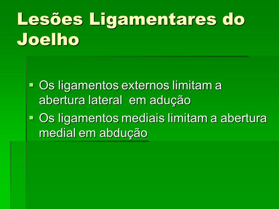 Lesões Ligamentares do Joelho Os ligamentos externos limitam a abertura lateral em adução Os ligamentos externos limitam a abertura lateral em adução