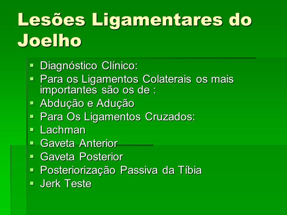 Lesões Ligamentares do Joelho Diagnóstico Clínico: Diagnóstico Clínico: Para os Ligamentos Colaterais os mais importantes são os de : Para os Ligament