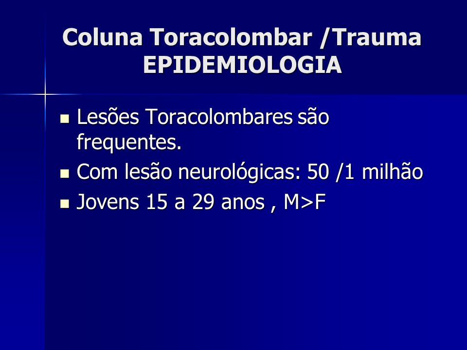 Coluna Toracolombar /Trauma EPIDEMIOLOGIA Lesões Toracolombares são frequentes.