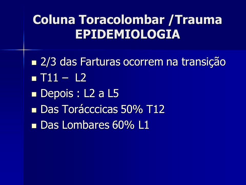 Coluna Toracolombar /Trauma EPIDEMIOLOGIA 2/3 das Farturas ocorrem na transição 2/3 das Farturas ocorrem na transição T11 – L2 T11 – L2 Depois : L2 a L5 Depois : L2 a L5 Das Torácccicas 50% T12 Das Torácccicas 50% T12 Das Lombares 60% L1 Das Lombares 60% L1