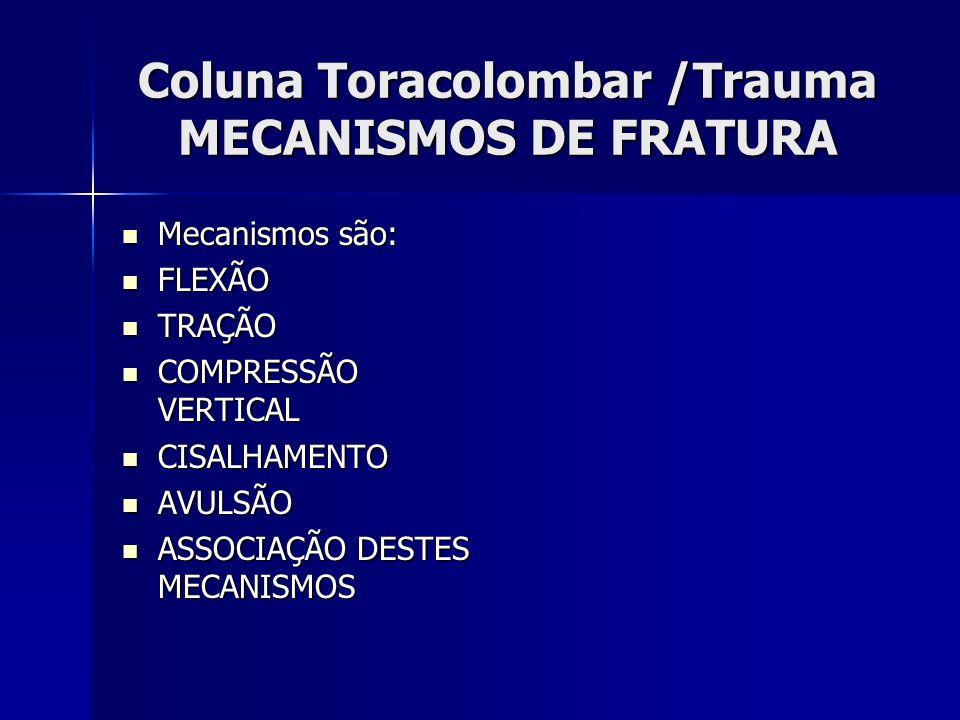Coluna Toracolombar /Trauma MECANISMOS DE FRATURA Mecanismos são: Mecanismos são: FLEXÃO FLEXÃO TRAÇÃO TRAÇÃO COMPRESSÃO VERTICAL COMPRESSÃO VERTICAL CISALHAMENTO CISALHAMENTO AVULSÃO AVULSÃO ASSOCIAÇÃO DESTES MECANISMOS ASSOCIAÇÃO DESTES MECANISMOS