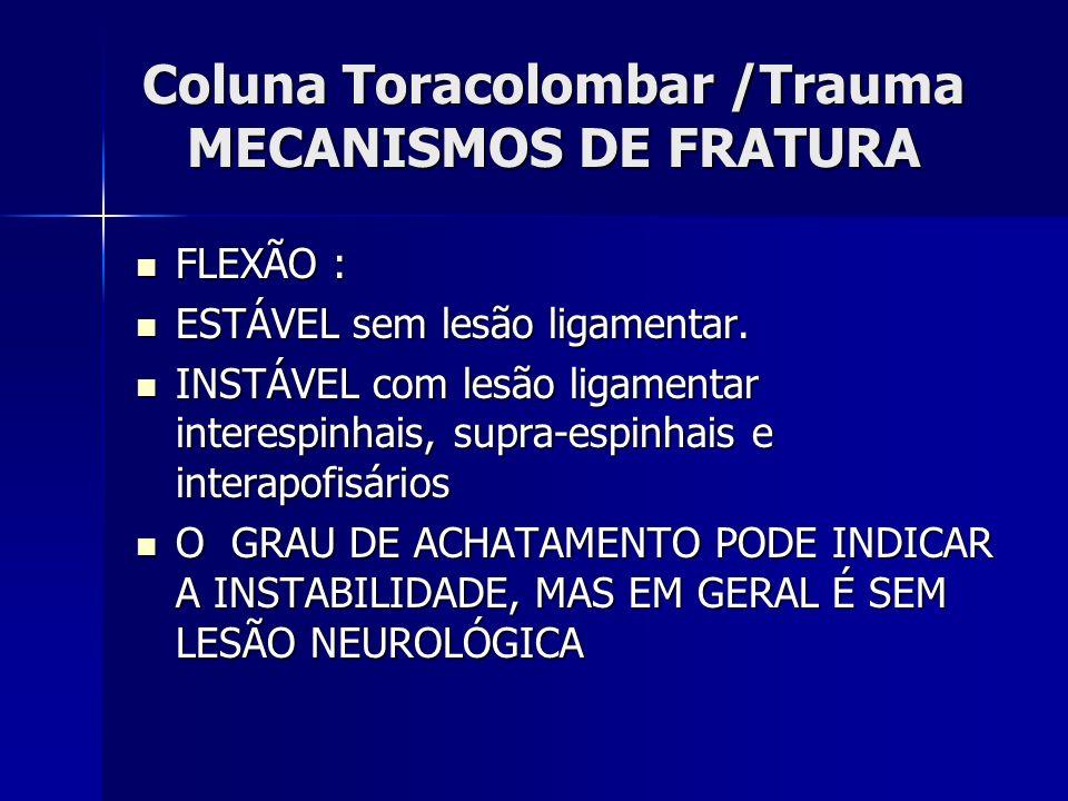 Coluna Toracolombar /Trauma MECANISMOS DE FRATURA FLEXÃO : FLEXÃO : ESTÁVEL sem lesão ligamentar.