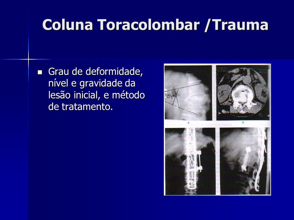 Coluna Toracolombar /Trauma Grau de deformidade, nível e gravidade da lesão inicial, e método de tratamento.